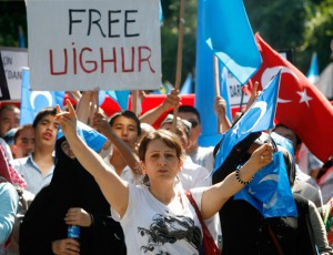 A group of protesters calling for freedom for Uighur people.