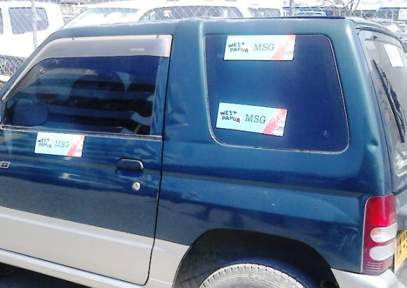 Car with West Papua campaign stickers, Honiara, Solomon Islands [David Leeming]