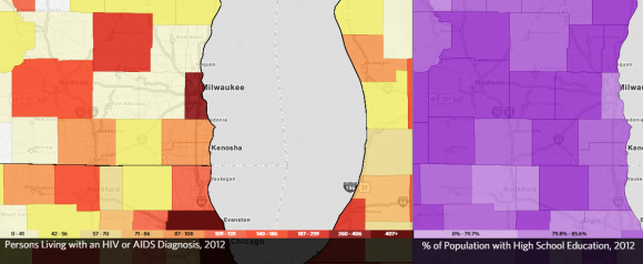 A caputre from AIDSVU showing the prevelance of HIV in the Milwaukee, WI, USA compared with the population with a High School education.
