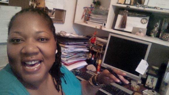 Zilanie Gondwe in her workspace