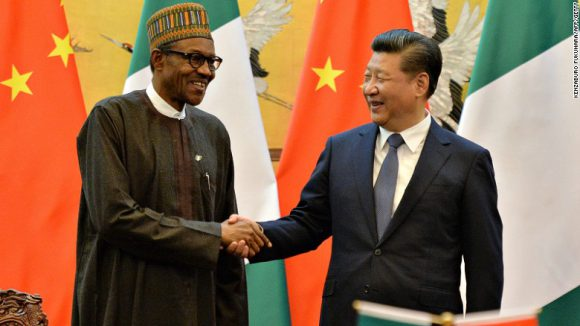 Nigerian president and China's president shake hands at the Great Hall of the People in Beijing in April, 2016. Retriewed from CNN