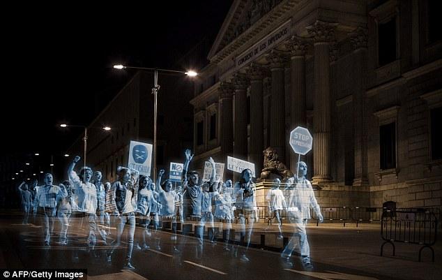 Spain's Hologram Protest. Credit: AFP/Getty Images