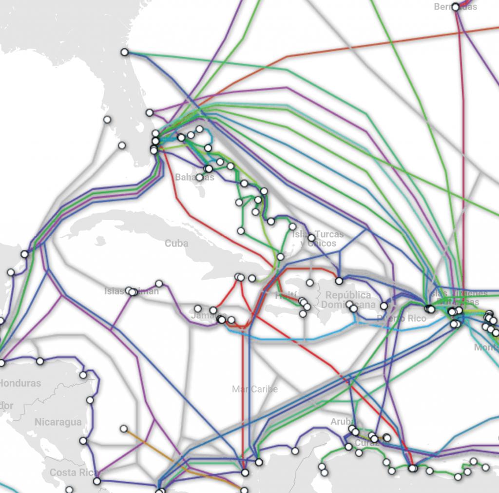 Broadband cable map Caribbean