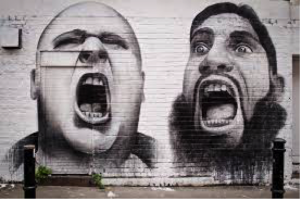 values graffiti image of two heads shouting