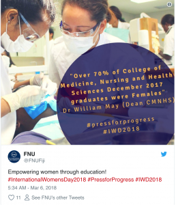 Tweet from Fiji National University about
