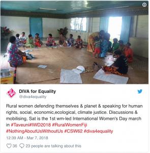 Fijian women discussing and mobilising