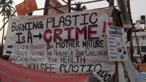 Goa burning plastic sign