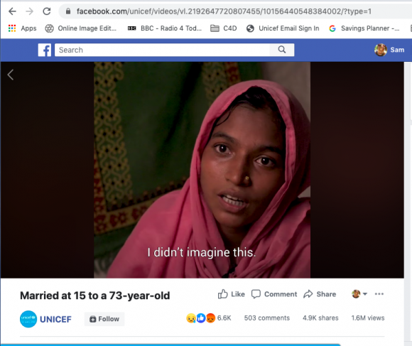 A screenshot of a UNICEF subtitled video titled 'Married at 15 to a 73-year-old'.