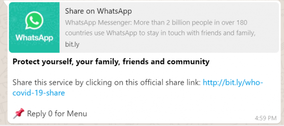WhatsApp and WHO COVID-19 chat bot share option